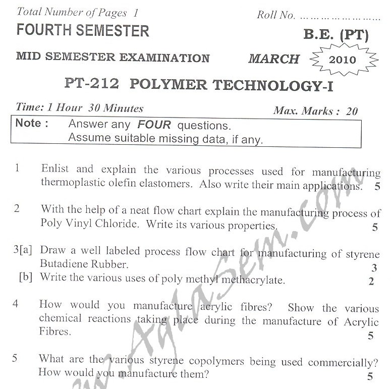 DTU Question Papers 2010 – 4 Semester - Mid Sem - PT-212