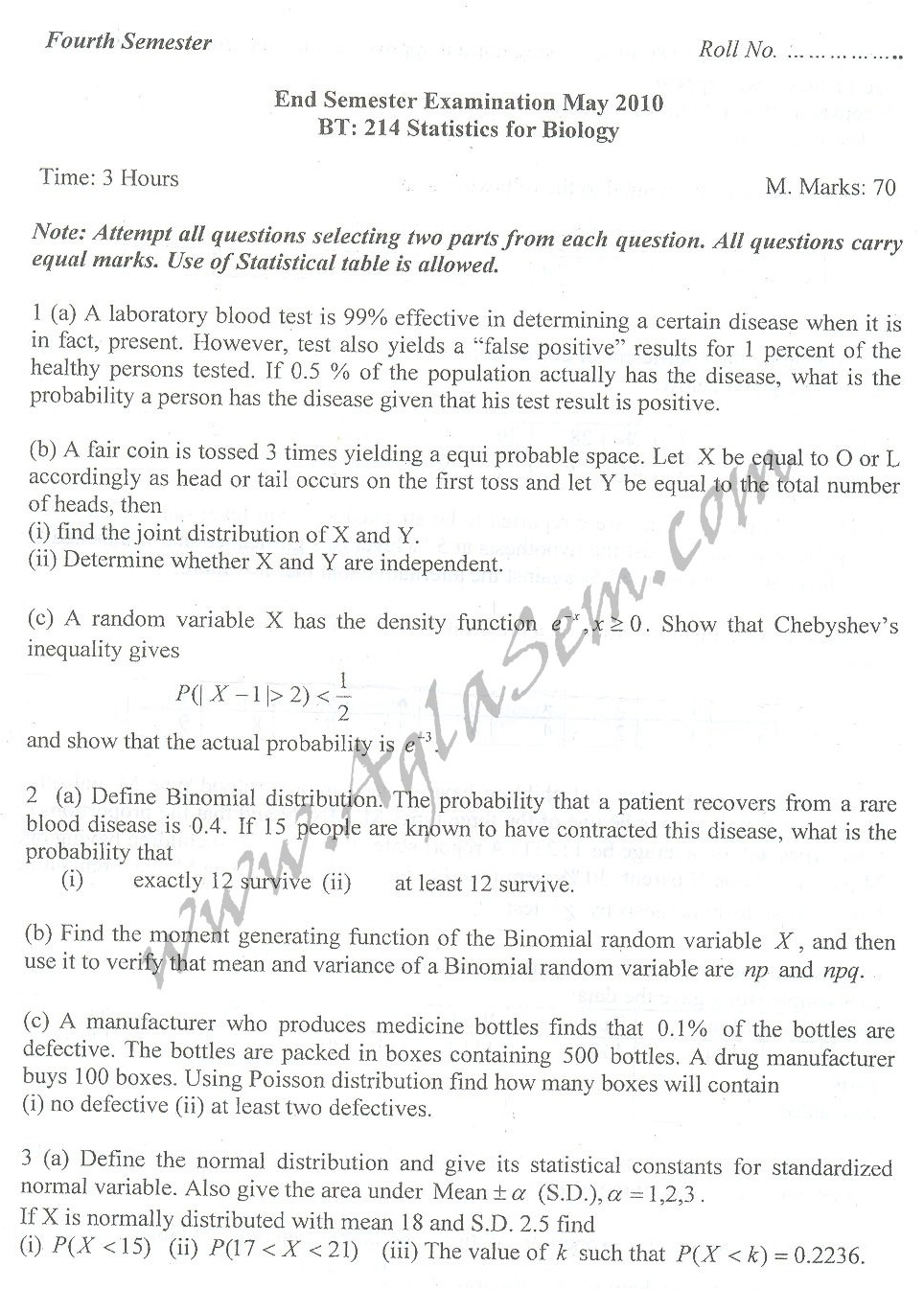 DTU Question Papers 2010 – 4 Semester - End Sem - BT-214
