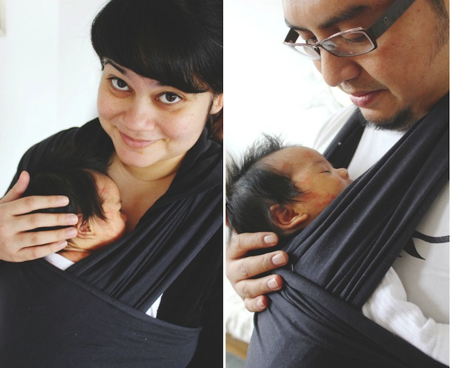 Mommy and Daddy babywearing stretchy sling