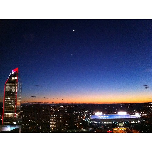 One of my favorite iPhone photos of #uptown #clt (and Venus and the moon) #nofilter {12.27.2011} from the 25th floor of the TradeMark