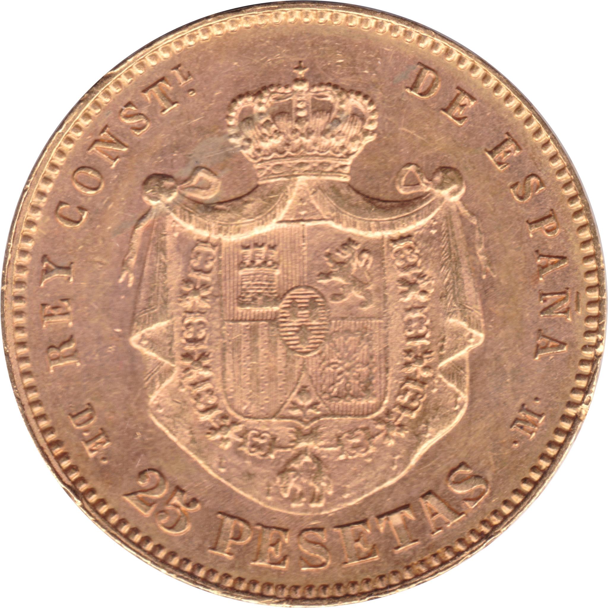 25 Pesetas 1877 *18 *77 Alfonso XII- DEM (subasta Cayon 24 abril)  8682392865_6403a60b69_k