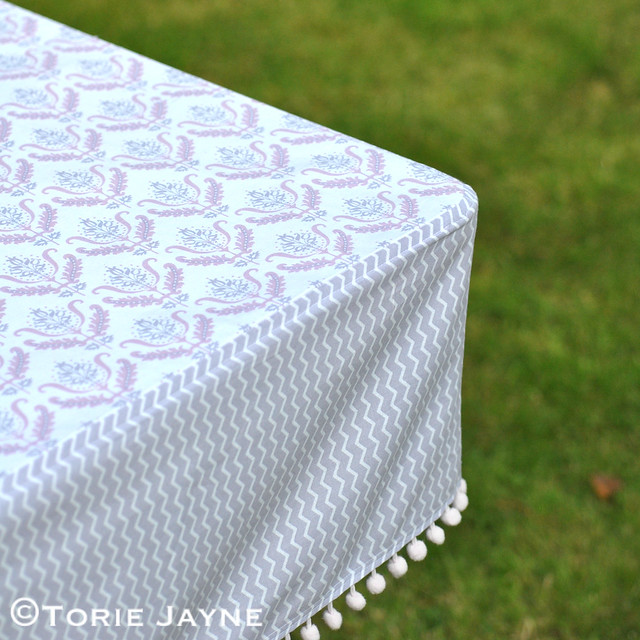 Pom pom trim tablecloth