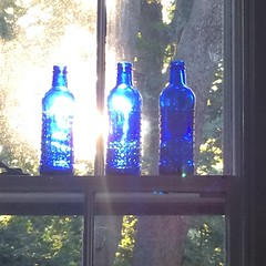 Blue bottles. Setting sun.