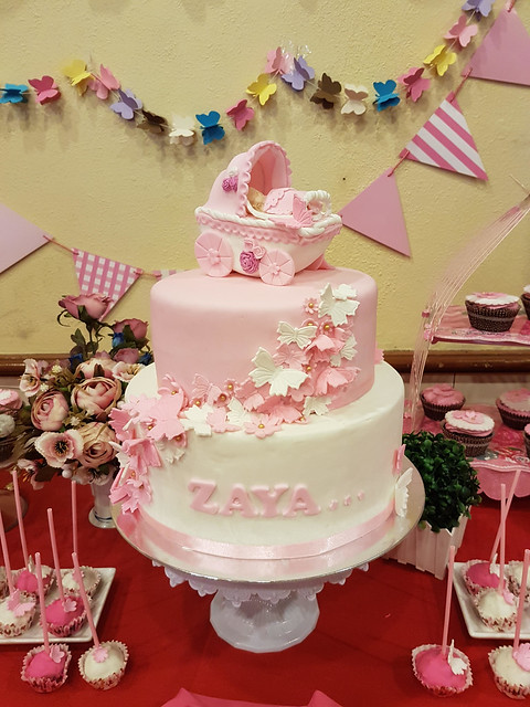 Whimsical Theme with Carriage Christening Cake by Rachelle Casanova