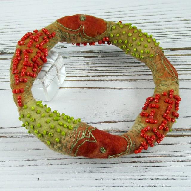Eco Printed Beaded Bracelet