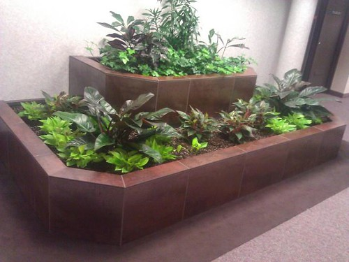 Commercial porcelain tile planter decoration