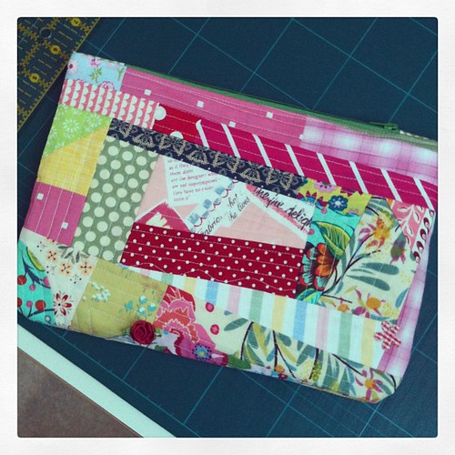 Scrappy Quilt-as-you-go Pouch
