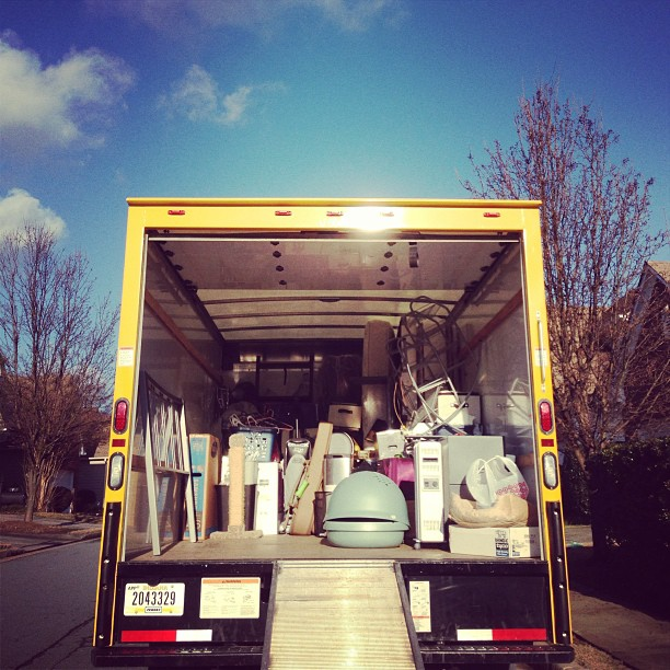 """Our entire life of """"stuff"""" being loaded onto one place."""