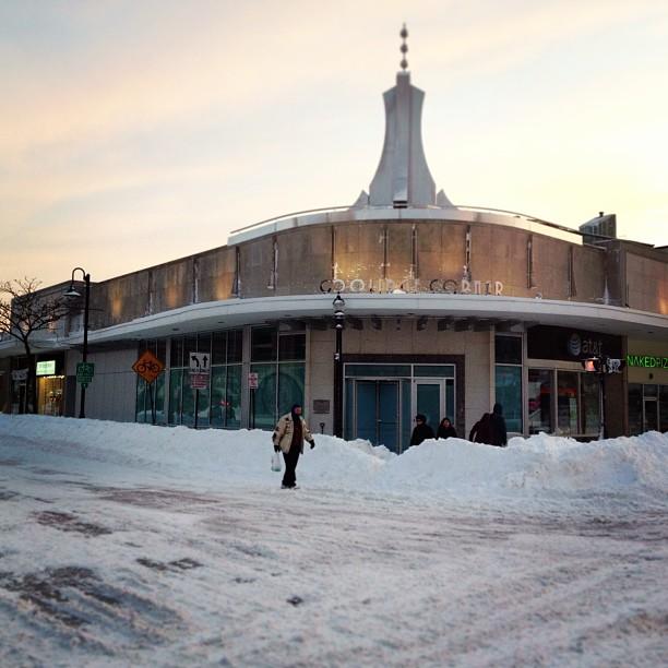 Piles and piles of snow in Coolidge Corner. #nemo #snowpocalypse