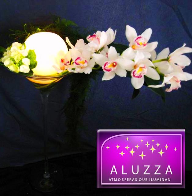 pantalla de cera en forma de esfera para arreglos de mesa de boda aluzza
