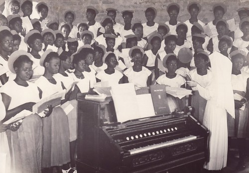 At choir with Sister Agnes Mary Devine, St Louis Secondary School, Ondo