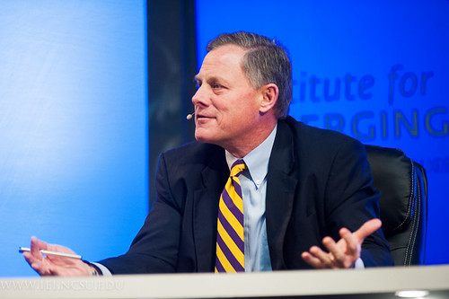 Sen. Richard Burr speaks during a panel on federal issues.