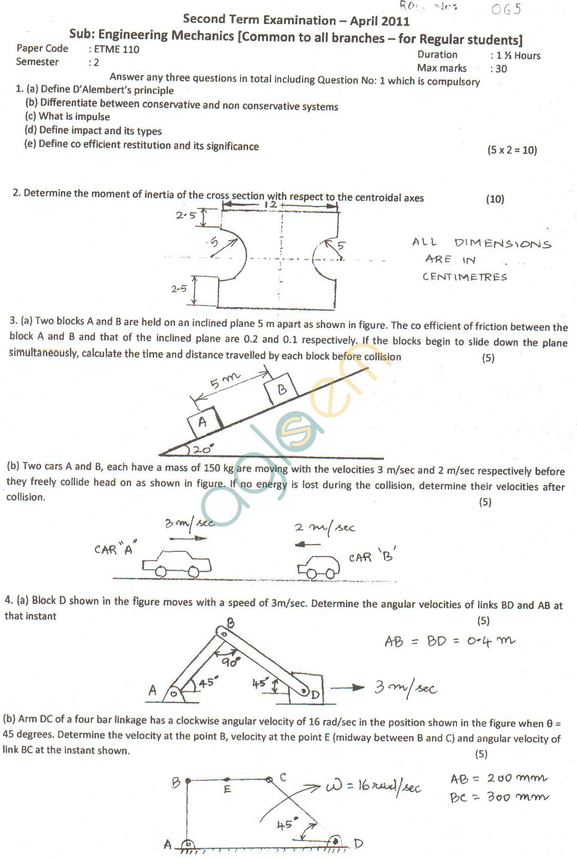 GGSIPU Question Papers Second Semester – Second Term 2011 – ETME-110