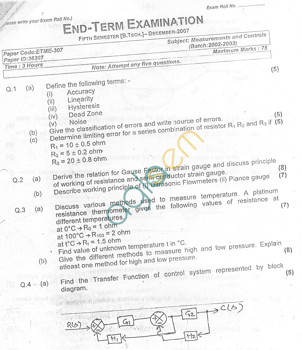 GGSIPU Question Papers Fifth Semester – end Term 2007 – ETME-307