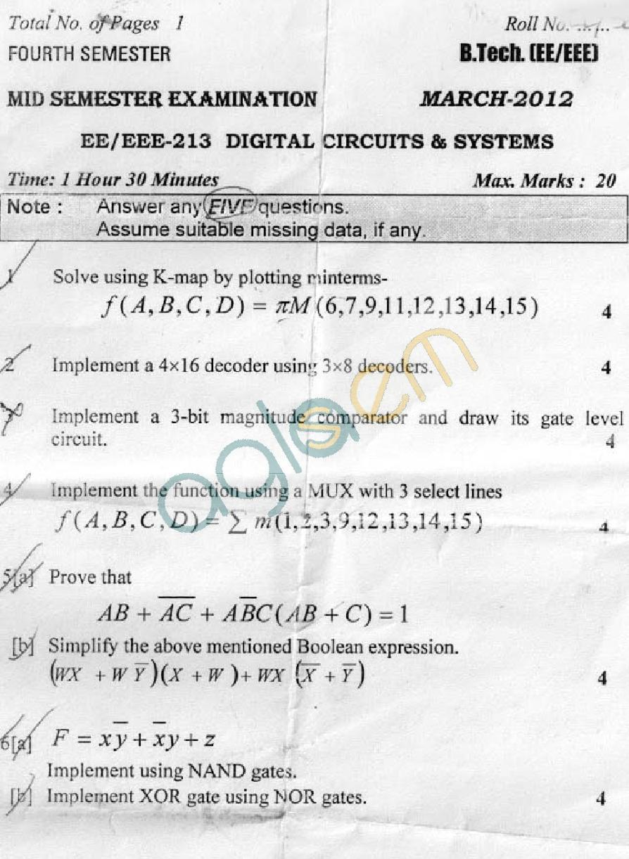 DTU: Question Papers 2012 - 4 Semester - Mid Sem - EE-EEE-213