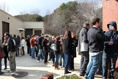 Queue at the brewery tasting