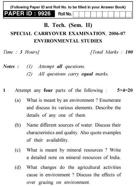 UPTU B.Pharm Question Papers TES-201 - Special Carryover Examination, 2006-2007 Environmental Studies