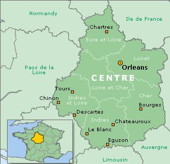 Mapa del centro del Valle del Loira (Francia)