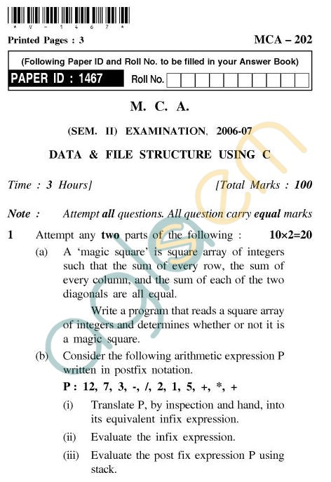 UPTU MCA Question Papers - MCA-202 - Data & File Structure Using 'C'