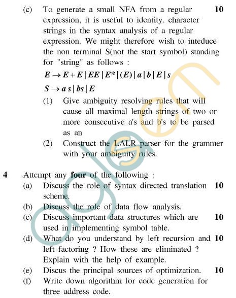 UPTU MCA Question Papers - MCA-404(1) - Compiler Design