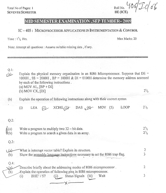 NSIT: Question Papers 2009 – 7 Semester - Mid Sem - IC-405