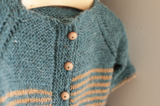 striped sweater (button detail).