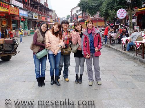 Núria amb estudiants xineses a Yangshuo