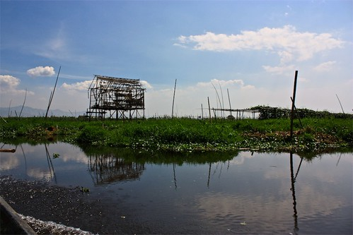 a bamboo frame house under construction