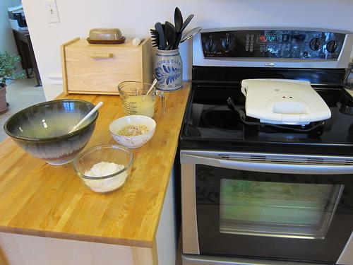 Ingredients for waffles pre measured