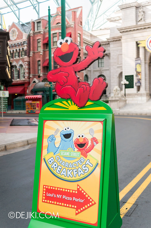 Sesame Street Character Breakfast at Universal Studios Singapore - Breakfast Welcome Sign at New York