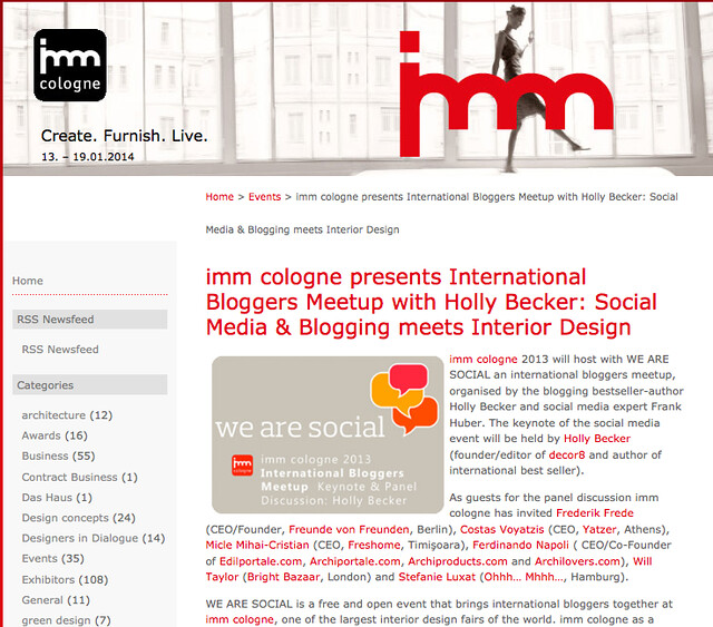 Gave a keynote at imm cologne  Event info listed here on ...