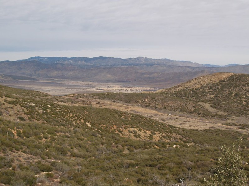 PCT view north toward Rodriguez Canyon and the San Felipe Hills from the side of Chariot Mountain