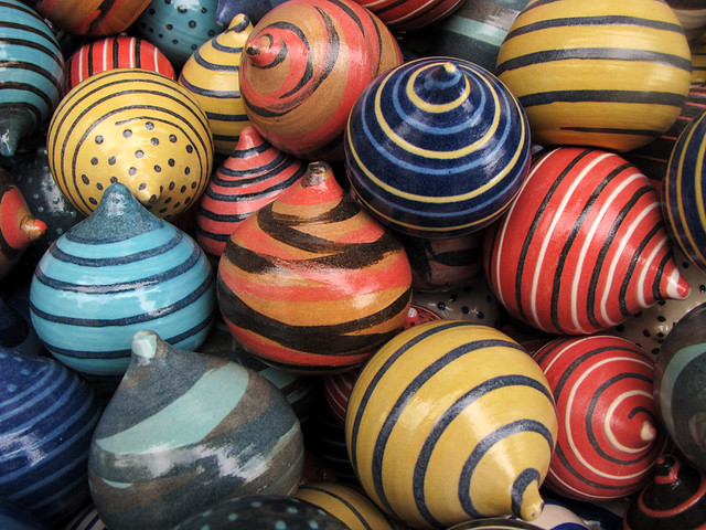 Multicolored Spinning Tops