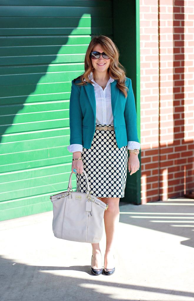 polka dot skirt teal blazer business casual outfit idea
