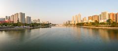 """""""沙田城門河東日落 Sunset in Shatin Shing Mun River East"""" / 香港全景攝影 Hong Kong Panoramic Photography / SML.20130306.7D.26942-SML.20130306.7D.26951-Pano.Cylindrical.172x65.7"""