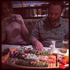 #dinner #foodporn #sushi #sake #beer @flstumpjumper @katygen