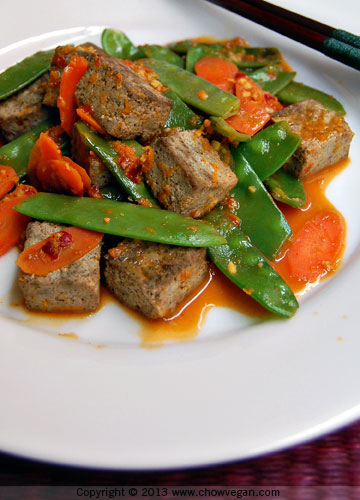 Black Tofu and Snow Peas in Orange-Ginger Sauce