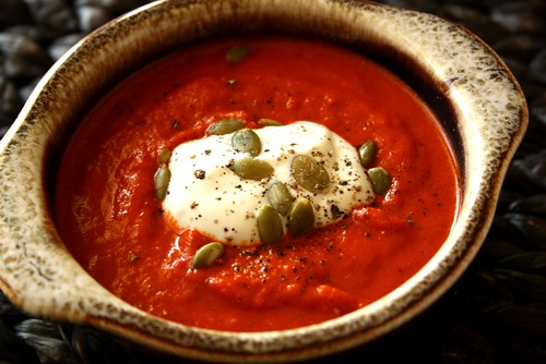 Roasted Red Pepper Soup with Sundried Tomatoes