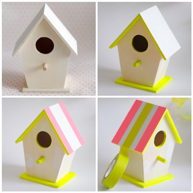 Neon & Pastel bird houses steps 1-4