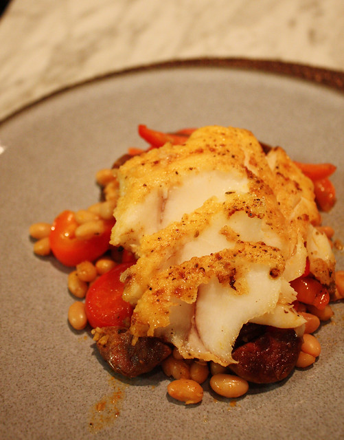 Cod with Red Pepper Chorizo Ragout
