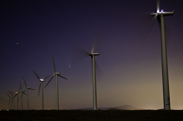 Comet PANSTARRS and the Nine Canyon Wind Farm near Kennewick, WA by Scott Butner, March 23, 2013.