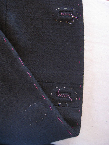 Bound buttonhole front basted to facing