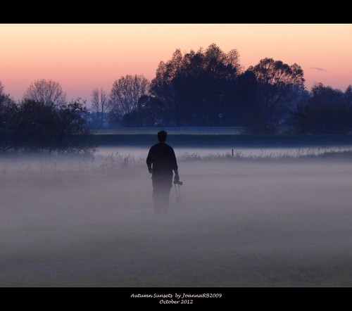 autumn trees sunset sky mist fall nature fog landscape meadow poland polska warta