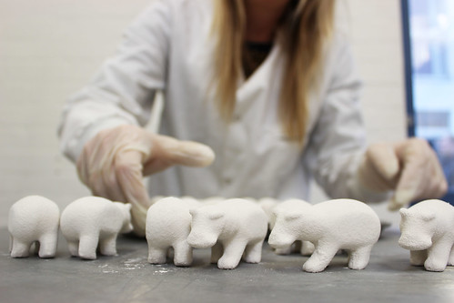 Ceramic hippos created using 3D print technology