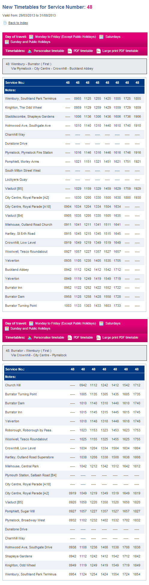 Forthcoming Timetables   Devon   Cornwall   FirstGroup plc.