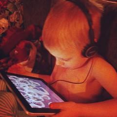 Hurray for iPad and headphones makes a quiet Murphy #preschoolhelpers
