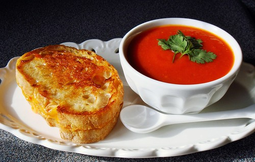 Classic Tomato Soup & Grilled Pimento Cheese Sandwich