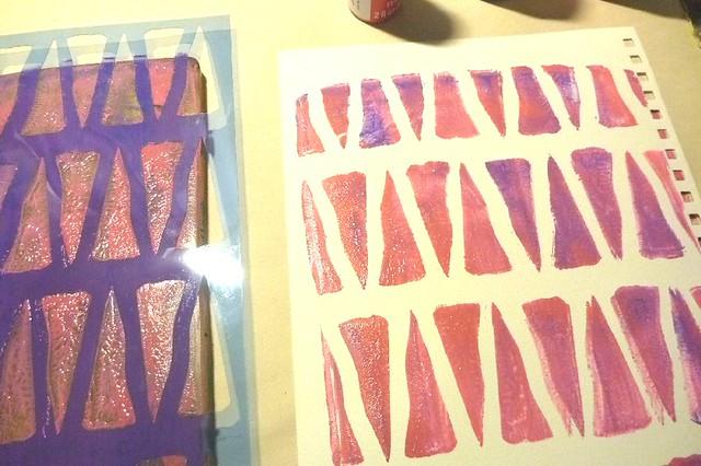 gelli and stencil