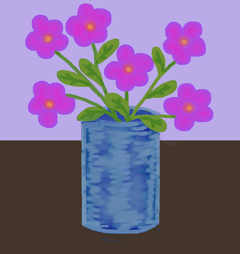 Pink Flowers in Blue Vase (Digital Pastel Sketch Day 1) by randubnick