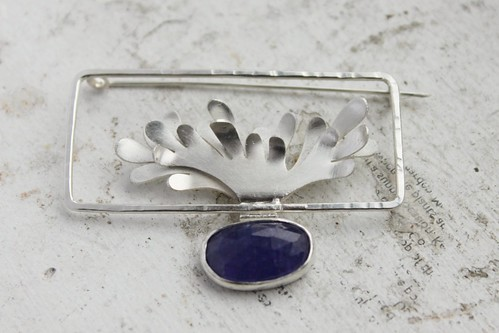 Staghorn Fern Terrarium Brooch with Tanzanite
